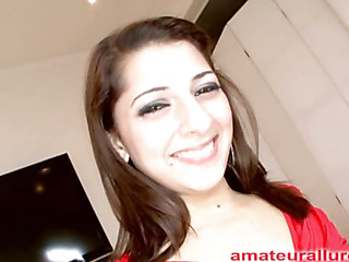 Charming and energetic Abby blows rod and receives her face screwed merely to be bent over and get her love tunnel pounded until this chick is gratified then that chick receives a biggest cum facial to go with her big smile.