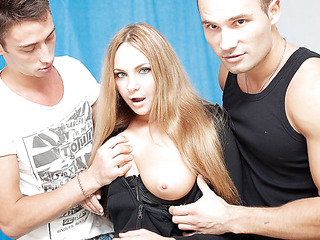 3 oversexed boys were bored as hell and wanted to fuck, so one of 'em went out to find some chick. What a surprise, a cute neighbor of his was walking in the park, and that playgirl acceded to have a cup of tea with him! Looks like this hot blondie will be the star of an dilettante double penetration episode :) At First that playgirl didn't want to take part in real hard fuck, but did this playgirl have any choice? The sexually excited dudes got her stripped in no time and made her do hard unfathomable face hole. Then it was time for real anal fucking, ...