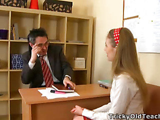 Cute playgirl came to the teacher's place and acceded to please him. The old guy pets her pinkish vagina.