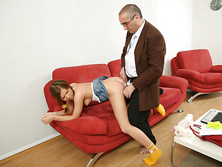 Old nasty teacher fills each single tight gap of a bad student with his large firm jock.