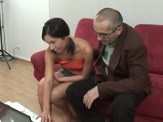 Lascivious old teacher is pounding chick's love tunnel tenaciously