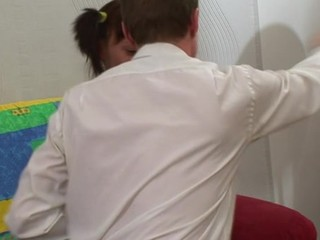 Hotty is delighting teacher with her skillful face hole