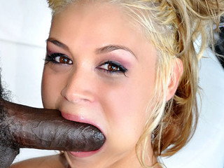 Cute golden-haired is lustful to suck and fuck a large dark weenie