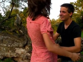 Lewd legal age teenager sweetheart fucks on a fallen treen outdoors with partner