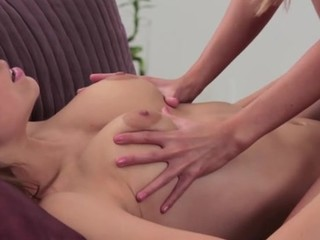 Marvelous lesbian is slurping honeys shaved bawdy cleft hungrily
