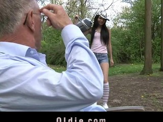 Wicked and playful Nataly Von seduces the old dude with lovely kissing and intensive blowjob stimulation. This Chick doesn't miss a drop of goo from her mouth.