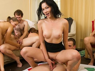 Lewd students adore hot celebrations. They strip and plunge into sexual group fuckfest in sexy student sex party movie.